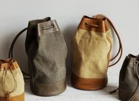 革×帆布で夏に爽やかに持てる 大人の巾着バッグ