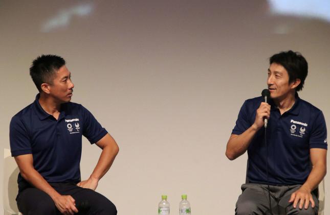 前園さんはアトランタ五輪、朝原さんは北京五輪で活躍