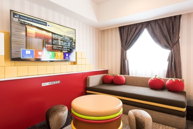 ドムドムハンバーガーをイメージした客室が登場