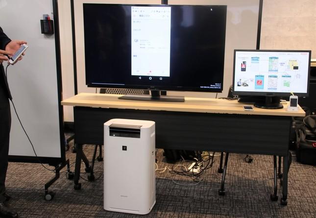 制度説明会会場に設置されたシャープの企業ブース