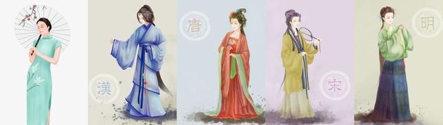 時代による漢服の変化(左端はチャイナドレス)