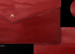 深紅の牛本革製「シャア専用」ドキュメントケース