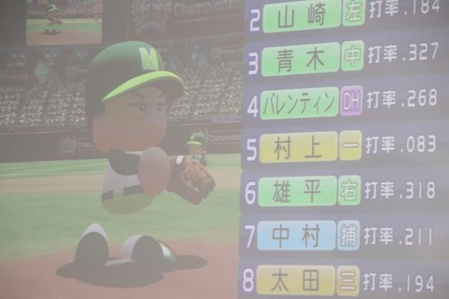 スクリーンに投影された、「実況パワフルプロ野球」の上島さんモデルキャラクター