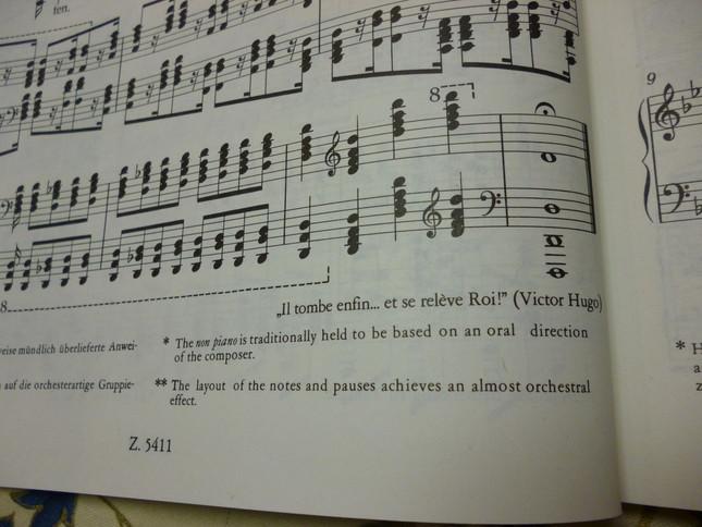 ピアノ版の楽譜の最後には、ユゴーの叙事詩の一節が引用されている