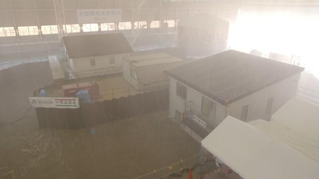 大型降雨実験施設での実験の様子