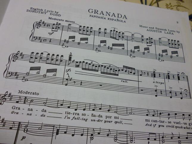 グラナダの楽譜。歌詞は冒頭から、グラナダの街そのものに呼びかけている
