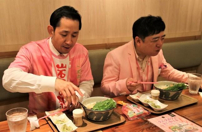 タニタカフェ有楽町店にて、「岩下の新生姜天をのせた白湯豆乳フォー」を試食