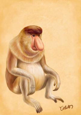 なばたさんが描いた「テングザル」(写真2)