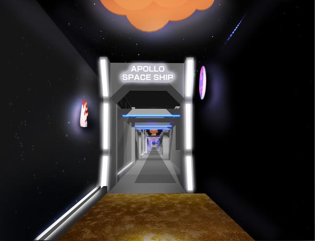 ゲートには「APOLLO SPACE SHIP」の文字が