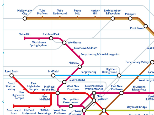 一体どこの地下鉄?英語の路線図が話題(画像は@chizutodesignさん提供)