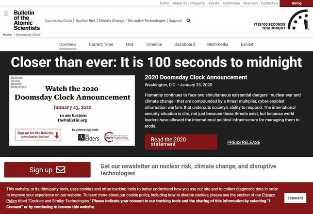 「ブレティン・オブ・ジ・アトミック・サイエンティスツ」公式サイトの「Doomsday Clock」ページ