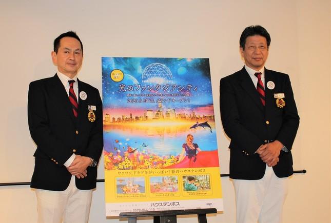 取締役兼マーケティング本部長CMOの佐伯博司氏と代表取締役社長の坂口克彦氏(左から)