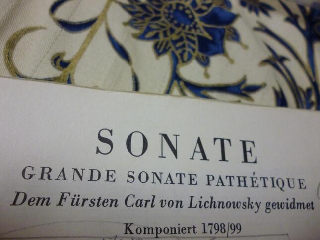 楽譜冒頭には「大ソナタ悲愴」というタイトルがフランス語で書かれているが、これは初版からの伝統で、ベートーヴェンの「公認の題名」と考えられる