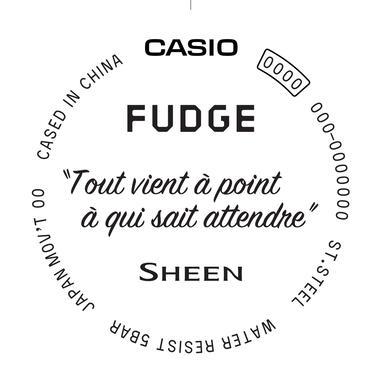 時計の裏蓋にはフランス語のことわざが刻印されている