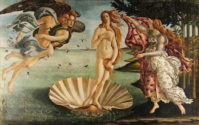 ボッティチェリ作『ヴィーナスの誕生』では、ゼフィロスは一番左にいて、花と春の女神クロリスのため息とともに、ヴィーナスを岸に吹き寄せようとしている(ウィキメディア・コモンズより)