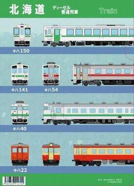 北海道の特急列車やディーゼル普通列車をデザインしたクリアファイル