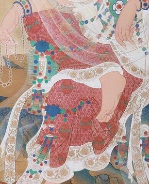 ほとんどの高麗仏画は織目の粗い絵絹に描かれ、絹の裏側に白色と赤系の顔料が用いられて厚手の裏彩色が施されている。表側には天然の岩を砕いて作った岩絵具で彩色されている。(撮影/金慧印)