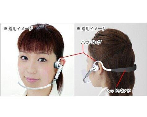 ヘッドセットの要領で装着する透明マスク