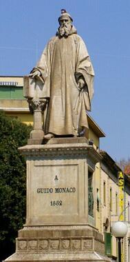 アレッツォの街に立つグイードの銅像。本名はグイード・モナコである。「アレッツォのグイード」と呼ばれるのは、レオナルド村のダ・ヴィンチなどと同じであるが、彼の発明も、音楽に大きな影響を与えた
