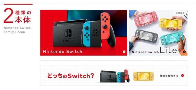 Nintendo Switchの抽選販売(画像は任天堂公式サイトより)