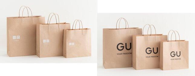 環境配慮型紙製ショッピングバッグ(左:ユニクロ 右:ジーユー)
