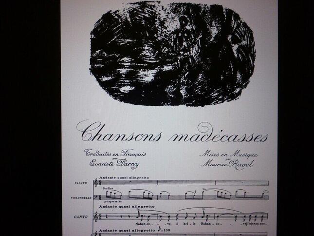 現在デュラン社から発行されている『マダガスカル島先住民の歌』の楽譜には各楽章に旅情を誘う挿絵も描かれている
