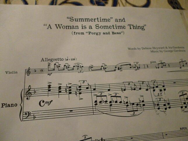 ハイフェッツ編曲の「ポーギーとベス」組曲の楽譜。大胆なアレンジの『サマータイム」から曲はスタートする