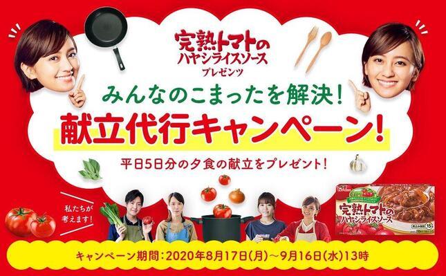 「完熟トマトのハヤシライスソースプレゼンツ『みんなのこまったを解決!献立代行キャンペーン』」キービジュアル