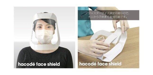 顔全面を広く保護する「ハコデフェイスシールド」