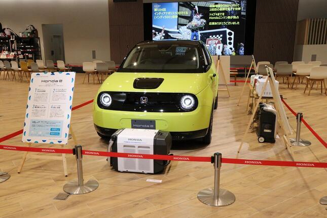 Hondaウエルカムプラザ青山に展示された「Honda-e」