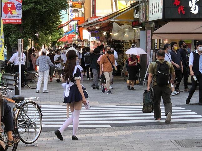 秋葉原中央通りで勧誘をするメイド喫茶スタッフ
