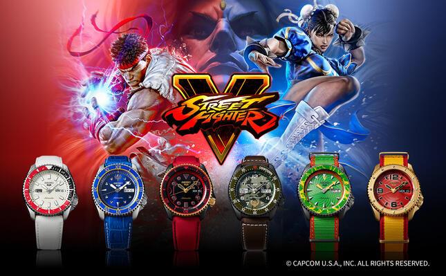 「ストリートファイター」シリーズを代表する6キャラが腕時計に