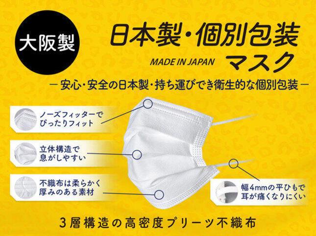 マスクは大阪府豊中市の工場で製造