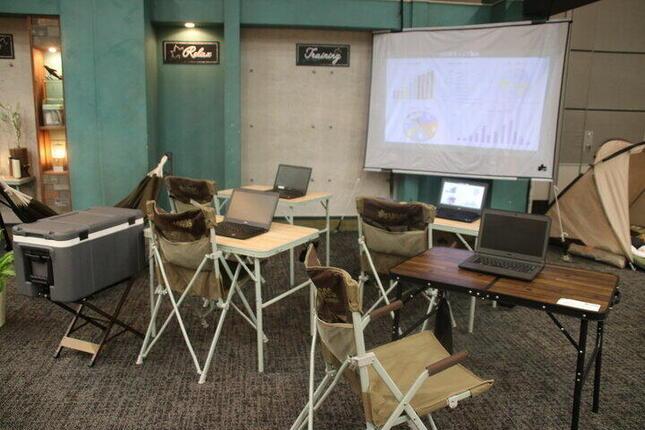 アウトドアグッズでオフィス空間を作ったコーナー