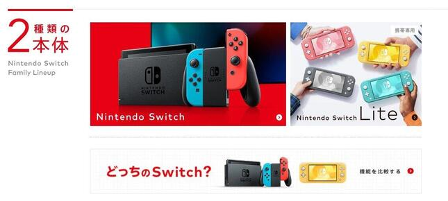 SwitchもPS5も永遠に「当たらない」!?(画像は任天堂の公式サイトスクリーンショット)