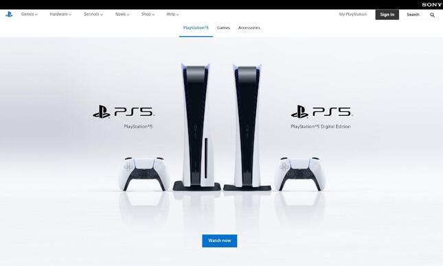 インド版のプレイステーション公式サイト。「PS5」発売日の記載がない。