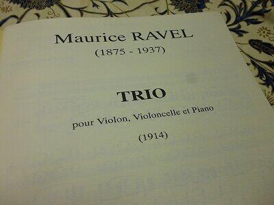 ラヴェルのピアノ三重奏曲の楽譜。1914年と、大きく年号が記されている