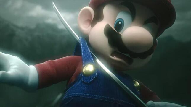 セフィロスの「正宗」に肩紐を引っかけられ、驚くマリオ(画像2・画像は「Nintendo 公式チャンネル」が配信中の動画より)