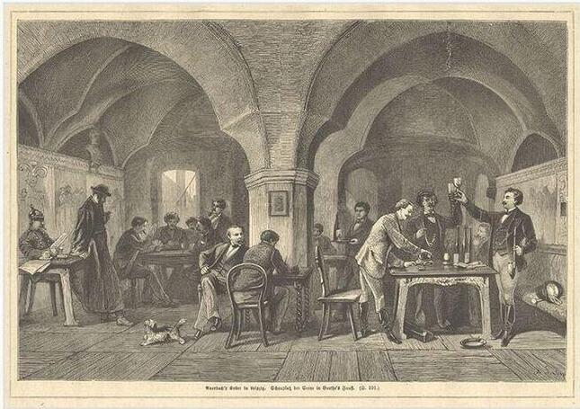 ファウストの「アウエルバッハの居酒屋」の場面を描いた絵