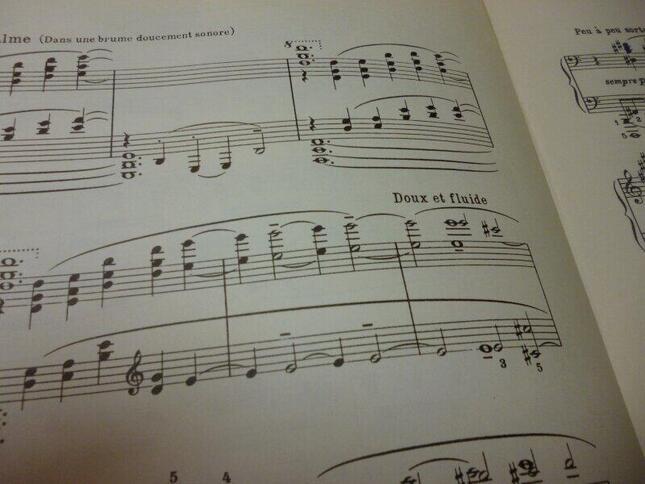 古い出版譜では、「遅いママ」になっていた『沈める寺』の楽譜部分(オランダ旧版)
