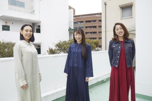 (左から)俳優の河野知美さん、広山詞葉さん、声優の福宮あやのさん(c)映画「truth~姦しき弔いの果て~」パートナーズ/写真・ハラダケイコ