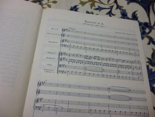 協奏曲の第1楽章の楽譜。管楽器はオーボエ2本とホルン2本が指定されているが、それらを省いてもバランスが悪くならないように冒頭からピアノが左手だけ書き込まれている