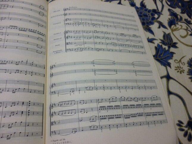 第2楽章頭は、同年に亡くなった大バッハの息子、J.C.バッハのオペラを織り込んでオマージュとしている。ここにも「ファゴットは自由に」の書き込みがあり、管弦楽の編成に自由度をもたせた配慮がうかがえる