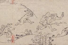 国宝「鳥獣戯画 甲巻」(部分) 平安時代・12世紀 京都・高山寺蔵