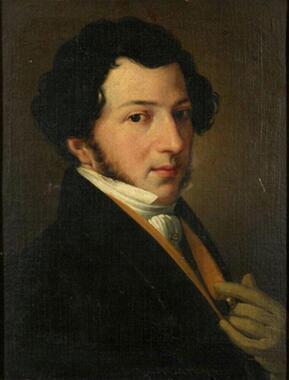 ナポリの劇場監督を行っていたころの若きロッシーニの肖像。ロッシーニといえば中年以降の美食家で太った写真が広く知られているが、若い頃はかなりの美男子で、数々の女性と浮名を流した