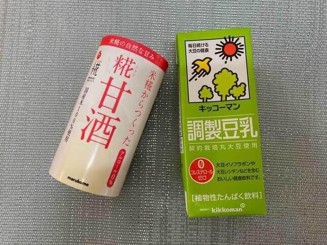 プリンの材料は、市販の甘酒と豆乳