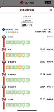 8時18分に新宿駅に停車した車両の混雑状況 その後の混雑予測も表示