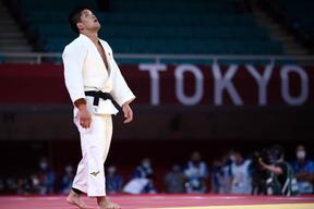 東京オリンピック柔道男子73キロ級決勝での大野将平選手(写真:AFP/アフロ)