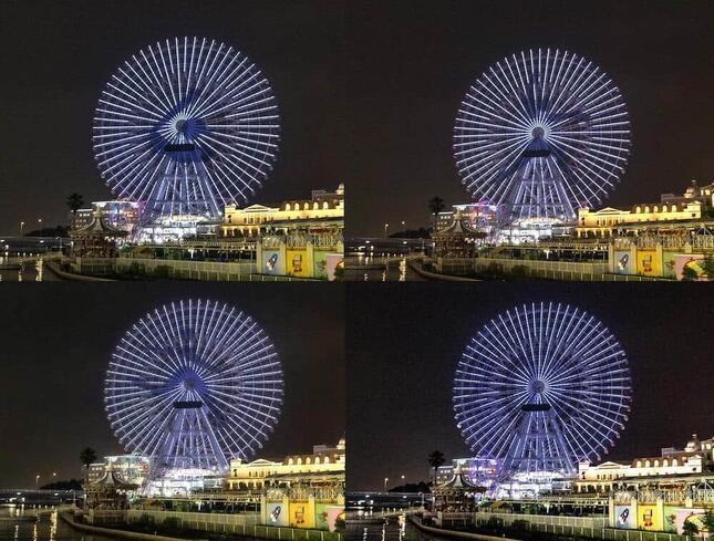 横浜の夜空に浮かぶピクトグラム(画像は横浜市の提供)