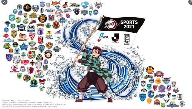 プロスポーツとコラボ「SPORTS2021×鬼滅の刃」(画像は鬼滅の刃公式ツイッターより)